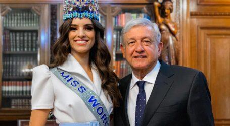 Recibe AMLO a Miss Mundo Vanessa Ponce de León