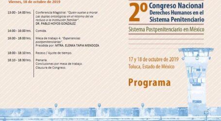 CODHEM Y CNDH INVITAN AL SEGUNDO CONGRESO NACIONAL SOBRE EL SISTEMA PENITENCIARIO Y POSTPENITENCIARIO