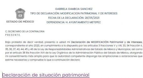 PRESENTÓ DECLARACIÓN PATRIMONIAL GABRIELA GAMBOA SÁNCHEZ