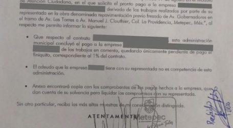 Aclara Ayuntamiento de Metepec cobertura de pago a Constructora